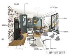 croquis architecte d'intérieur - Réalisation Dominique JEAN pour EDECO Rénovation  verrière, poêle à bois, carreaux de ciment