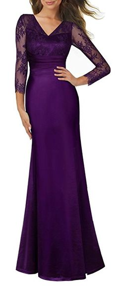 HOMEYEE Women's 1920s Wedding Party Cocktail Lace Bridesmaid Maxi Dress A019 (12, Purple)