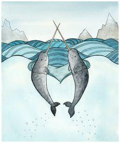 Cute Narwhals Small Art Print from original by DanielleVGreen