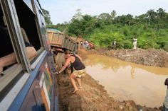 En route between Sierra Leone and Liberia - not an easy road at the best of times! (Photo via passenger Zinzi Speear) Liberia, West Africa, Roads, Times, Easy, Fun, Travel, Sierra Leone, Road Routes