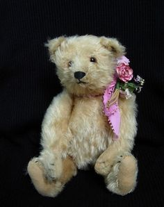 Antique Steiff Teddy Bear With Button & White Tag Remnants