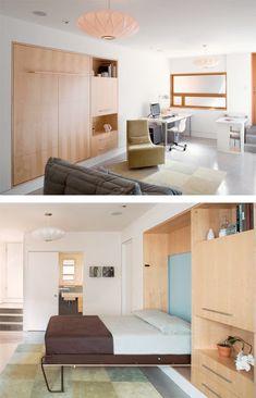 Az olvasó kérdezi: szekrényágy és mozgatható fal   TÉRKULTÚRA lakberendező. Lakberendezési blog. Small Apartments, Small Spaces, Fal, Tiny House, Loft, House Design, Cabinet, Interior Design, Bedroom