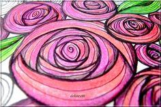 Rosendoodle, doodle painting, free coloring page, Seite zum Ausdrucken und selber ausmalen https://dekoretti.blogspot.de/2017/08/eine-rose-ist-eine-rose.html