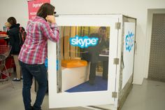 """At Social Media Week London in September, shipping crates became """"Skypepods."""" Each unit was equipped with Microsoft products and enabled with Skype so attendees could get work done or chat with colleagues online.  Photo: Dave Bird"""
