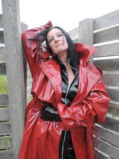 Ready for a walk in her red pvc mac and wellingtons | Rainwear ...