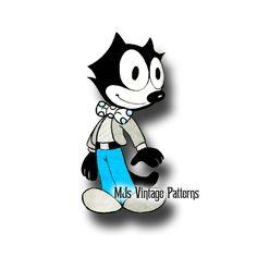 Vintage Felix the Cat Stuffed Animal Toy Pattern Cat Paw Tattoos, Cartoon Tattoos, Disney Tattoos, Cat Tattoo, Looney Toons, Mexican Art Tattoos, Sailor Jerry Tattoos, Old School Cartoons, Stuffed Animal Cat