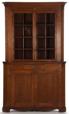 North Carolina Inlaid Corner Cupboard late 18th century, Piedmont region