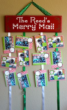 Merry Mail Christmas card hanger with 50 by PersonallyPoshDesign