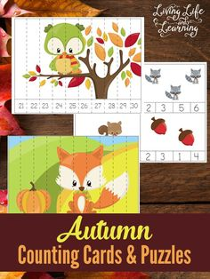 FREE Autumn Animals Counting Cards and Puzzles
