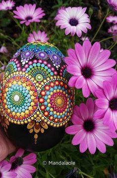 Stunning Egg-shaped Mandala painted stone 3 - Mandalaole.com