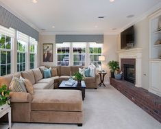 Narrow Family Room Design, Pictures, Remodel, Decor and Ideas - page 3 Sectional Sofa Layout, Living Room Sectional, Living Room With Fireplace, Home Living Room, Brick Fireplace, Large Sectional, Sectional Sofas, Fireplace Design, Brick Hearth