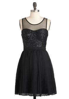 Evening Allure Dress - Black, Sequins, Party, A-line, Sleeveless, Winter, Holiday, Mid-length, Pleats, Sheer, Film Noir, Luxe