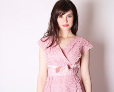 50s Cocktail Dress/ 50s Pink Lace Dress /  Vintage by aiseirigh, $212.00