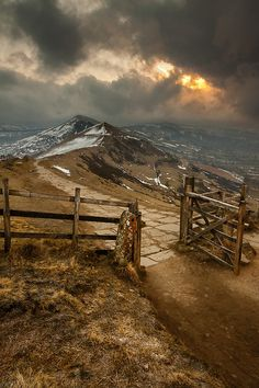 """""""Meet me at the gate at the top of the world""""..... Mam Tor, Peak District, England byRichard Cottrell"""
