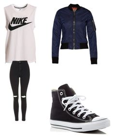 """""""dark blue bomberjacket"""" by merel-meuleman ❤ liked on Polyvore featuring NIKE, Topshop and Converse"""