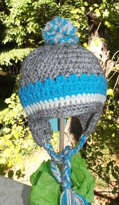 Little Boy Blue and Grey  Ear Flap Hat with by sweetpeacollections, $15.00