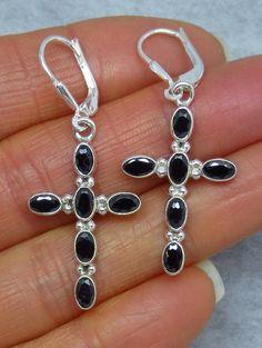 Faceted Black Onyx Cross Earrings - Leverback - Sterling Silver - Genuine Gemstones - 172026