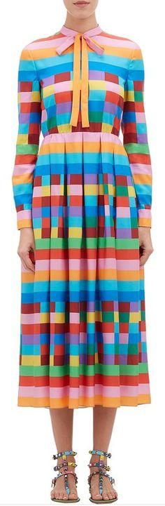 rainbow check dress