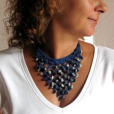 Cobalt Blue Cotton Thread, Bib Crochet Necklace, Beaded Jewellery, Statement Textile Jewelry, Semiprecious Stones, Boho, Hippie, Handmade, OOAK, Gemstones This necklace is perfect One of a kind gift for any special occasions. This is handmade bib crocheted cotton statement necklace