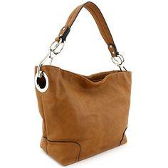 7c031e5d28f Hobo Shoulder Bag with Big Snap Hook Hardware x x Zipper closure Detachable  strap with drop Faux leather   silver tone hardware 2 zipper pockets   2  open ...