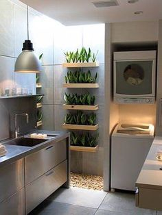 urban gardening - 23 Tiny Laundry Room With Nature Touches Home Design And Interior Outdoor Laundry Rooms, Tiny Laundry Rooms, Laundry Room Design, Farmhouse Style Kitchen, Modern Farmhouse Kitchens, Home Kitchens, Küchen Design, Home Design, Design Ideas