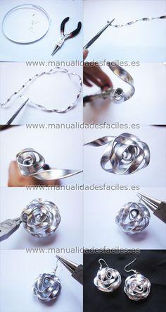 Como hacer pendientes con hilo de aluminio plano | Manualidades faciles capsulas nespresso