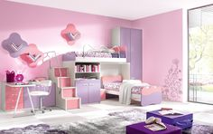 heavenly Interior likable Girls Room Design With Pink Wall Decal And Double astonishing Bed And White Learn Table Also White Chair And Pink And Purple Cabinets Color Also Unique Bookcase