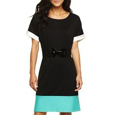 Belted Short Sleeve Colorblock Dress - jcpenney