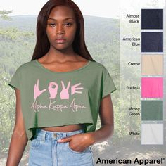Alpha Kappa Alpha Crop Tee | Something Greek | #AlphaKappaAlpha #AKA #sorority #clothing #love #croptop #greeklife #somethinggreek