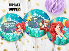 Little mermaid Ariel Cupcake toppers Cake toppers Printable