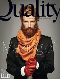 Quality Cover, Hair & Makeup: Jazz Mang, Photographer: Yves Borgwardt, Styling: Saskia Schmidt, red hair, red beard, beautiful beard, long beard, Hermes scarf, red gloves, www.basics-berlin.de