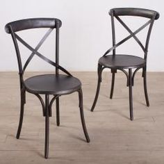 @Overstock.com - Metal Bistro Chairs Zinc Finish (Set of 2) - These metal bistro chairs are finished in beautiful zinc, making them a perfect fit for any kitchen or outdoor decor. This pair is resistant to weather, making them versatile pieces for indoor or outdoor use.  http://www.overstock.com/Worldstock-Fair-Trade/Metal-Bistro-Chairs-Zinc-Finish-Set-of-2/6707136/product.html?CID=214117 $369.99