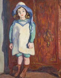 Portrait of Jean Valtat in a Hat of Blue and White, 1912. Louis Valtat