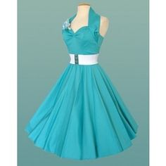 1950s Halterneck Turquoise Dress | 1950s Halterneck Plain | 1950s Swing Dress | Women's Clothing | Vivien of holloway