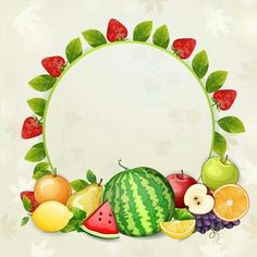 Buy Delicious Fresh Fruits Background by loradora on GraphicRiver.File saved in EPS 10 format and contains transparency effect. Fruits And Vegetables Pictures, Vegetable Pictures, Fruit Logo, Borders For Paper, Borders And Frames, Fruit And Veg, Fresh Fruit, Food Fresh, Food Border