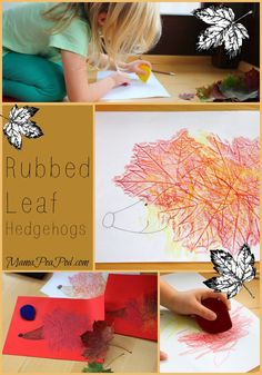 Autumn art for preschool: rubbed leaf hedgehogs