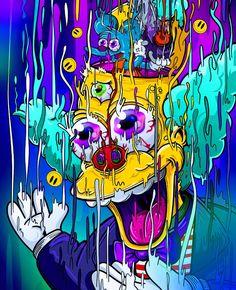 Crazy disturbing picture of krusty from the simpsons art graffiti wallpaper Trippy Wallpaper, Graffiti Wallpaper, Cartoon Wallpaper, Graffiti Art, Art Bizarre, Weird Art, Simpson Art, Art Hippie, Simpsons Drawings