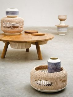 wicker + ceramic furniture series by alberto fabbian admired by our rattan furniture designers. Ceramic Furniture, Rattan Furniture, Table Furniture, Furniture Design, Office Furniture, Antique Furniture, Modern Furniture, Charles & Ray Eames, Furniture Inspiration