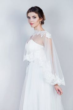 Bridal Lace Cape, Bridal Lace Capelet, Wedding Cape in White and Ivory, Tulle bridal capelet Delicate elegant tulle cape with lace edges. One size fits all. Available is White and Ivory Shipping - priority registered mail 155 Wedding Dress Capelet, Bridal Shawl, Bridal Gowns, Wedding Gowns, Wedding Cape, Bridal Cape, Wedding Suits, Purple Wedding, Chic Wedding