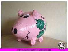 Glücksschwein- Glück - Sparschwein XXL - Geldgeschenk  - Kartenbox - Kleeblätter