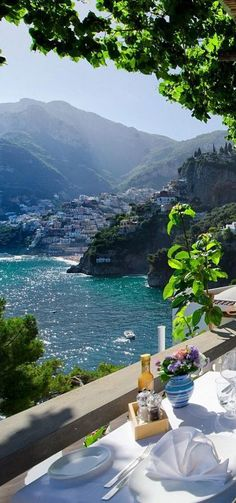 View from Villa Tre Ville, across to Positano on the Amalfi Coast, Salerno, Italy. Places Around The World, The Places Youll Go, Places To See, Around The Worlds, Italy Places To Visit, Vacation Destinations, Dream Vacations, Vacation Spots, Photos Voyages