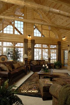 Log Cabin Homes from Golden Eagle Log Homes, extensive collection of home plans or custom designs log home especially for you. Log Cabin Living, Log Cabin Homes, Log Cabins, Timber Frame Homes, Timber House, House Design Photos, Home Design, Design Room, Design Ideas