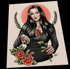 Morticia Adams tattoo art print by Quyen Dinh. Print is printed on Epson Ultra Premium Presentation Paper MATTE (10 mil). Paper is a heavyweight, non-glare cardstock. Original artwork was created using acrylic paint on canvas panel.Each pri...