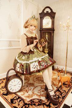 •○~ Classic lolita, ロリータ♥ dress - tights - shoes - heels - hair - braids - updo - ribbons - lace - clock shaped purse - decor - deer - cute - elegant - kawaii  - Japanese street fashion✮ ~•○