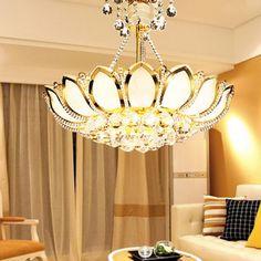 BYB Golden Vintage Crystal Chandelier Lighting Ceiling Lights Pendant Lamp