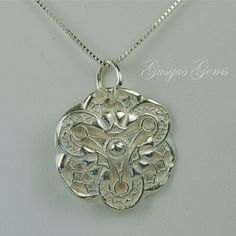 Abstract Flower Fine Silver Necklace Art Clay Silver by Gusgusgems