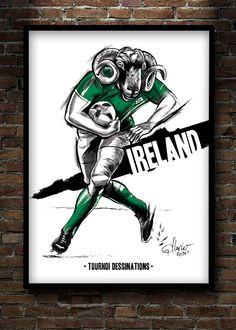 Le Tournoi Dessination (chimères) on Behance. Irish rugbyman.