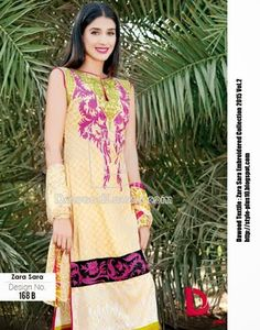Design No. 168-B From Zara Sara Embroidered Lawn 2015 Vol.2 By Dawood Textile