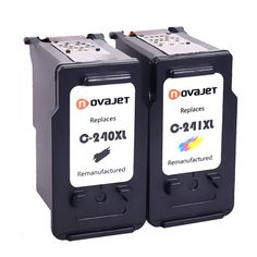 Novajet Remanufactured Ink Cartridge Replacement For PG-240XL 240 XL CL-241XL 241 XL (1 Black 1 Color, Combo Pack) Used In PIXMA MX472 MX452 MG3220 MG3520 MG2220 MX392 MX432 MX512 MG2120 MX522 Printer
