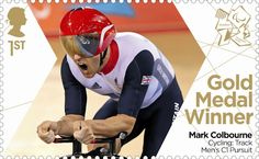Paralympics Gold Medal Winner stamp - Cycling, Track Men's C1 Pursuit, Mark Colbourne.